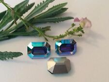 Swarovski #176 Vintage Octagon Craft Pack of 3 Sapphire Light AB POST FREE