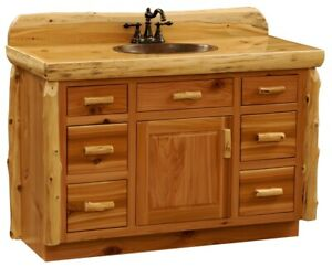 Custom Rustic Cedar Wood Log Cabin Lodge Bathroom Vanity Cabinet 48 Inch Ebay