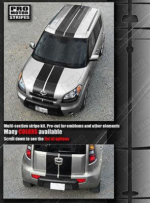 For KIA SOUL 2008-2018 Over Top Offset Sport Stripes Decals Choose Color