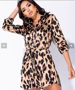 ac3285b216d Image is loading Leopard-Print-Shirt-Dress-Celeb-Inspired-Size-10