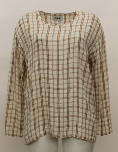 FLAX FALL RAYON CRINKLED LONG SLEEVED T-SHIRT PULLOVER TOP WINTER CREAM PLAID Md