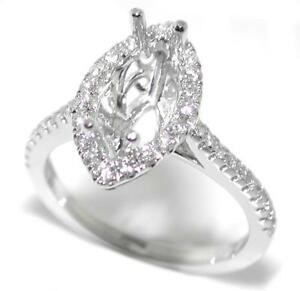 Stunning-0-42-Ct-Diamond-Halo-Semi-Mount-Setting-for-Marquise-Cut-14K-White-Gold