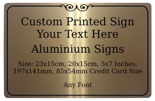 Custom Personalised Text Frame Metal Aluminium Sign Door House Office Plaque