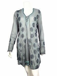 Johnny-Was-BIRCH-Embroidered-Eyelet-Georgette-Tunic-Dress-Blouse-268-XS