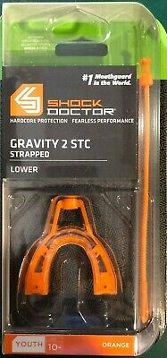 NEW Shock Doctor Youth Orange Gravity 2 STC Strapped Gel Fit Lower Mouthguard