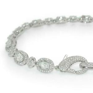 5.05 TCW Round Diamonds Bracelet With Large Lobster Clasp In 18k White Gold