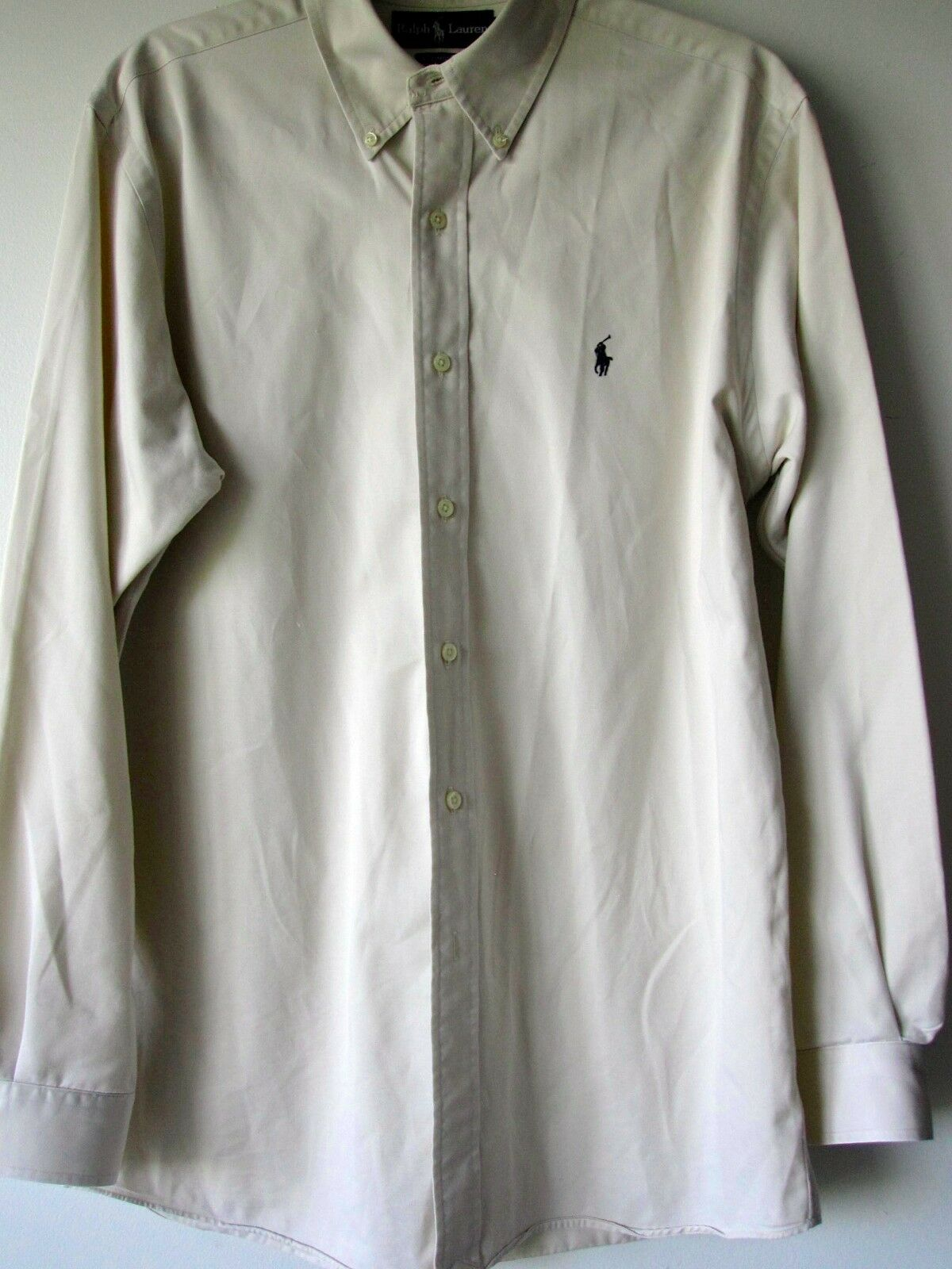 Ralph Lauren Shirt Medium Beige Long Sleeve Button Down Ellington Mens Cotton