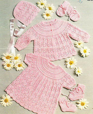 Gorgeous baby girl- dress,jacket, hat, mitts, boots- knitting pattern only-3ply