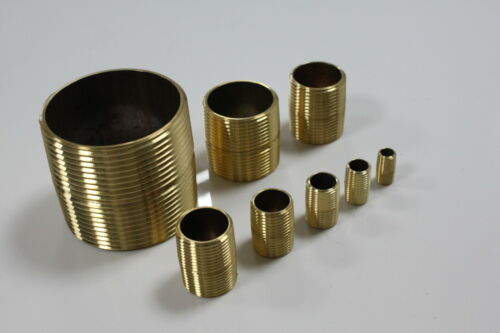"""Lot of 5 New Brass Pipe Close Nipples Fitting 1/"""" Male NPT"""