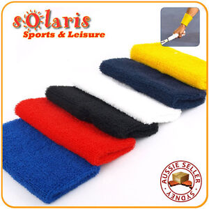2x Cotton 12cm Jumbo Sports Wristband Thick Sweat Absorbent Elastic Wrist Towel