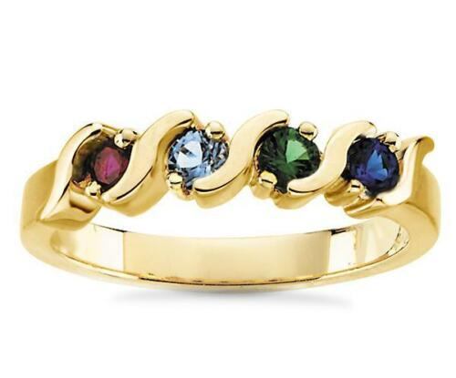 Mother/'s Ring 10K or Jaune 4 Pierre famille Pierre de naissance Bague Made To Order