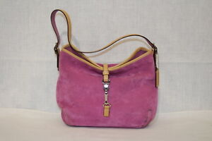 554fb1c6be30 Image is loading COACH-Pink-Suede-HAMPTON-clip-lock-closure-shoulder-