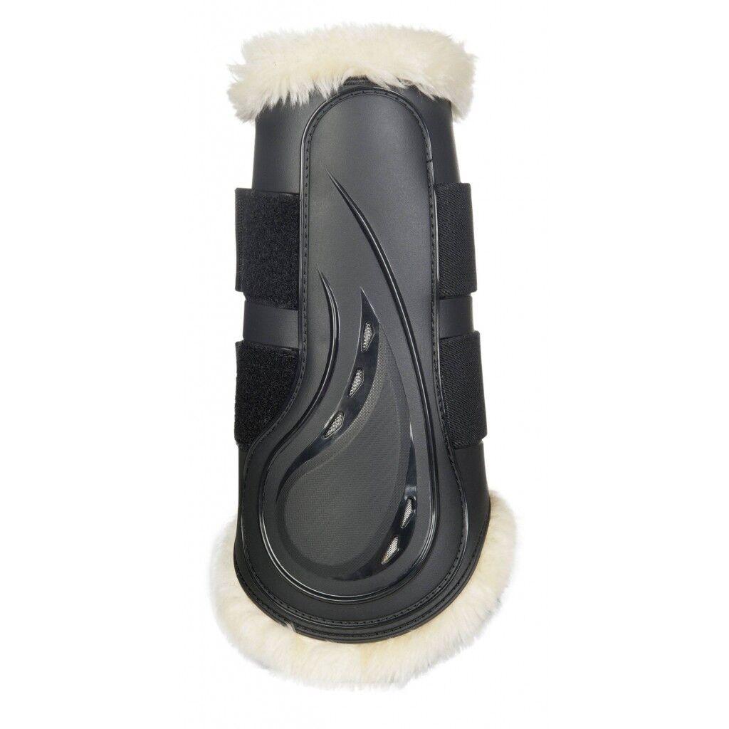 Dressurgamaschen Comfort black mit Schlagschutz und Kunstfell Gr. S-M-L-XL