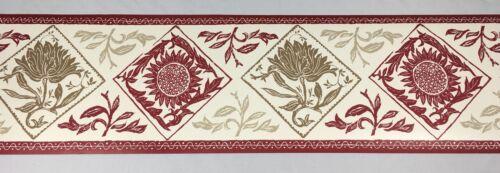 Waverly Wallpaper Border RED Beige Taupe Sunflower Diamond Ornamental Foliage