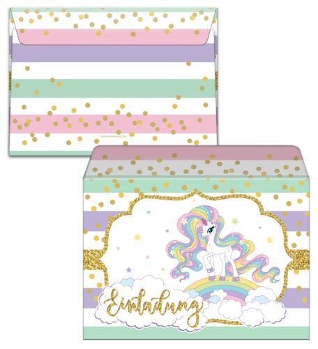 Invitation Cards 6 Children Birthday Sixth Invitations Envelope Unicorn Girl
