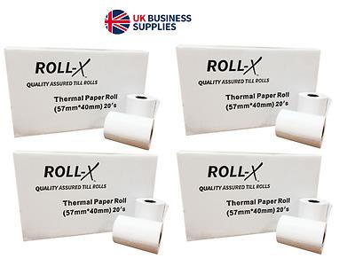 ROLL-X 57x40mm MACHINE TILL CREDIT CARD,PDQ THERMAL PAPER ROLLS CASH  REGISTER | eBay