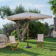 Ombrellone da giardino 3x3 quadrato con palo centrale in legno e copertura beige