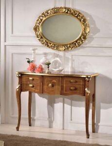 Consolle Ingresso Specchio.Dettagli Su Consolle E Specchio Ovale In Legno Noce E Foglia Oro Ingresso Arredo Casa