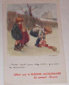 Carte-Postale-offerte-par-la-BLEDINE-JACQUEMAIRE-Illustration-POULBOT-Le-NOEL