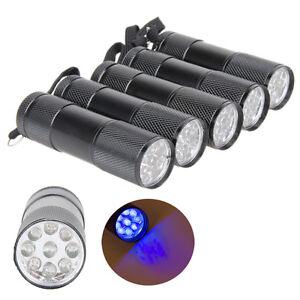 5pcs-9-LED-Mini-Aluminum-UV-Ultra-Violet-Flashlight-Blacklight-Torch-Light-Lamp