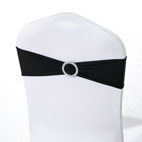 100x Spandex Stretch Wedding Chair Cover Sashes Bow Band Party Banquet Black US