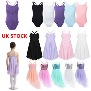 UK-Girls-Lyrical-Ballet-Dress-Kids-Leotard-Gym-Dance-Wear-Party-Dancing-Costume