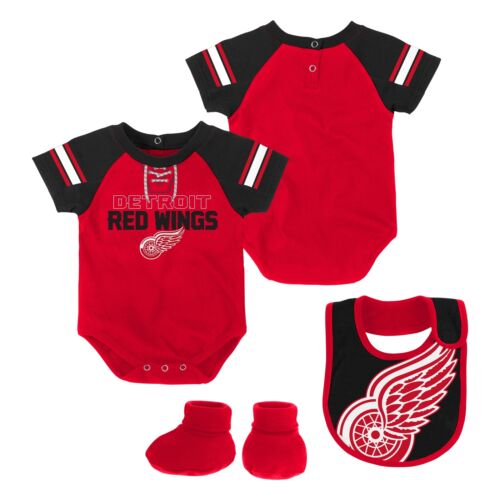 Detroit Red Wings NHL Infant Creeper Bib /& Bootie