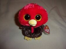 """TY BRAND NEW FEATHERS THE TURKEY BEANIE BOO- 6"""" BEANIE BOOS- HARD TO FIND NOW!"""