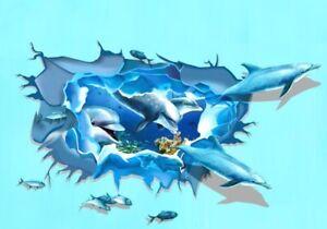 XXL-3D-Wandtattoo-Wandaufkleber-Delphin-Wandsticker-Delfine-Meer-Unterwasser