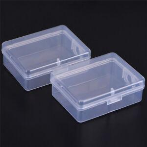 2PCS-Small-Transparent-Plastic-Storage-Box-Clear-Square-Multipurpose-Display-TC