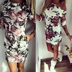 Women's Sexy Off Shoulder Floral Print Mini Bodycon Dress Half Sleeve Long Tops
