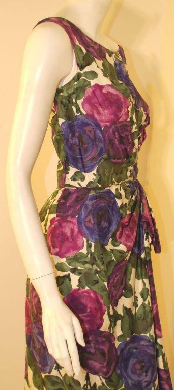 CEIL CHAPMAN 1950s Violet Cotton Floral Print Wig… - image 5