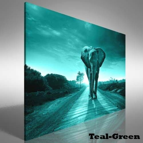 Elephant Walking In A Road Canvas Print Large Picture Wall Print