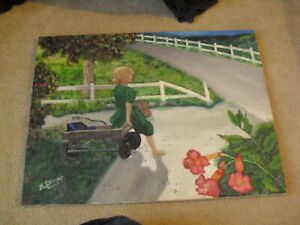 Original Vintage Oil Painting Signed D Shupp Young Girl with Wood Wagon