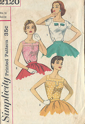 1957 Vintage Sewing Pattern B34 BLOUSE (1002)