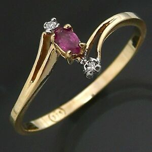 Dainty-Budget-Cross-over-RUBY-amp-DIAMOND-9Solid-Yellow-GOLD-DRESS-RING-Sz-N1-2