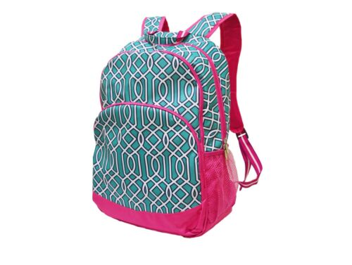 Pink and Turquoise Backpack book bag All For Color NWT