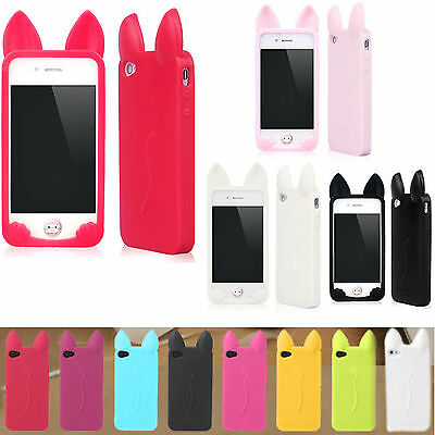Cartoon Cat Ear Soft Silicone Rubber Case Cover For Apple iphone 7 5S 5C 6+Plus