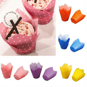 300Pc Solid Color Cupcake Wrapper Liners Muffin Tulip Case Cake Paper Baking Cup
