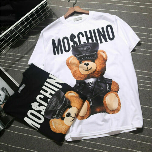 New UK Moschino Funny Womens Men Short Sleeves Cotton Tops Bear Printed T-shirt
