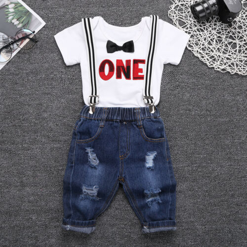Baby Boys 2 Piece Gentlemen Outfits Short Sleeve Romper Shirt Suspender Outfit