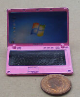 1:12 Pink Metal Dolls House Miniature Opening Lap Top Computer Office Accessory