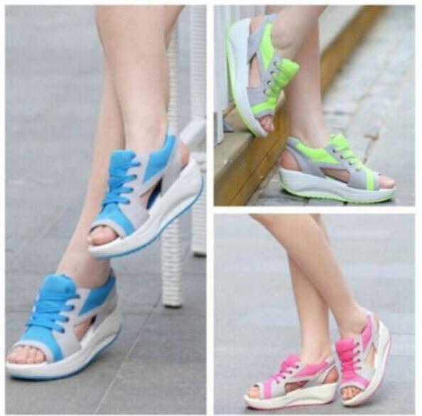Women Lady Rocker Creeper Platform Bottom Sandal Peer Toe Shape Up Summer Shoes