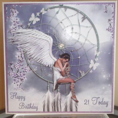 HANDMADE PERSONALISED 21ST BIRTHDAY CARD A PAGAN FANTASY DREAMCATCHER /& ANGEL