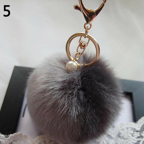 UK/_ Artificial Rabbit Fur Fluffy Pom Pom Handbag Car Key Chain Ring Accessory Ea