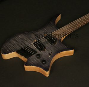 Top-Headless-Electric-Guitar-Ash-Body-flamed-Top-Stain-Finish-Including-Gigbag
