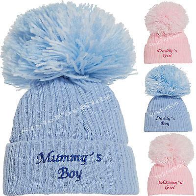 NEWBORN BABY DELUXE POM POM BOBBLE HATS KNITTED HAT WHITE PINK GREY GIRLS BOYS