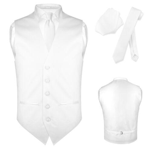 Men/'s SLIM FIT Dress Vest Narrow NeckTie Hanky Set Formal Suit Tux Waistcoat Tie