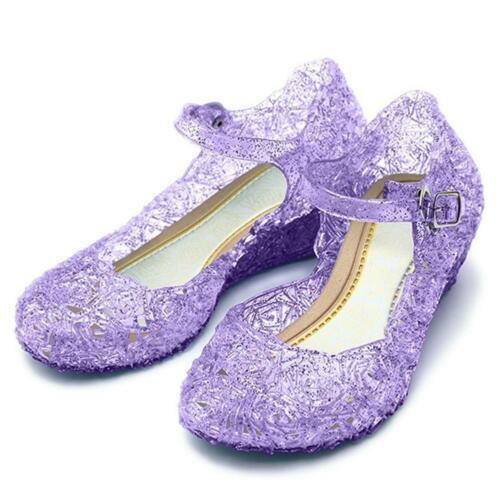 Princesse Fille Talon Chaussures Elsa la Reine des Neiges Costume Carnaval Gelé