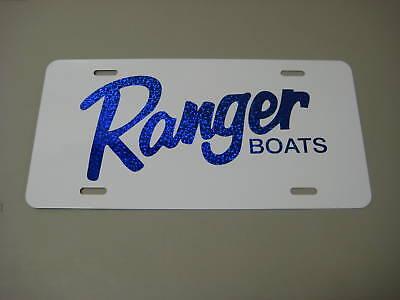 Ranger boats//license plate//BLUE Flake on White aluminum
